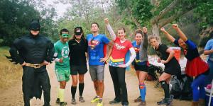 Super heros, mile 18 aid station