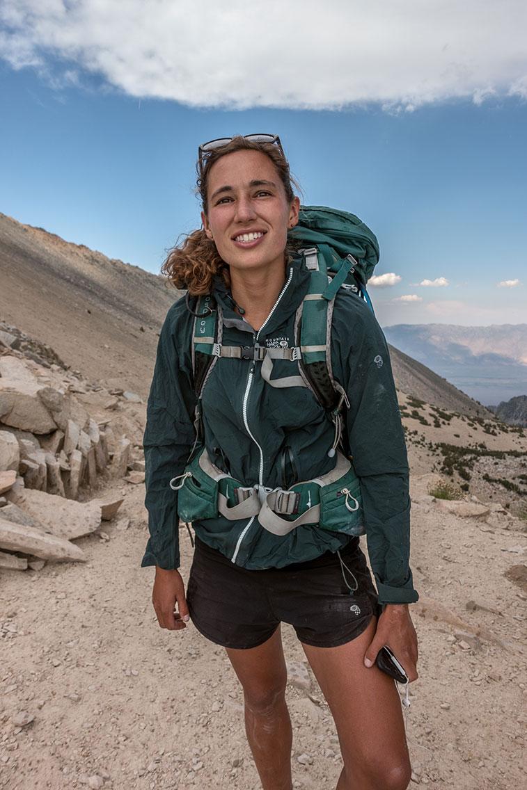 Mikaela, JMT thru-hiker, Kearsarge Pass