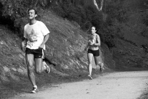 Billy Kay, 20:58, chased by women's winner Cambria Wu