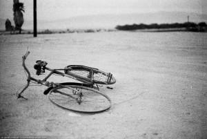 Salton Sea, rusted bike.