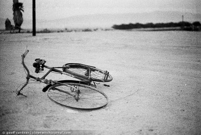 Salton Sea, rusted bike.