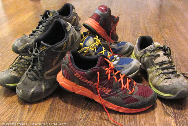 Pile of Montrail Shoes
