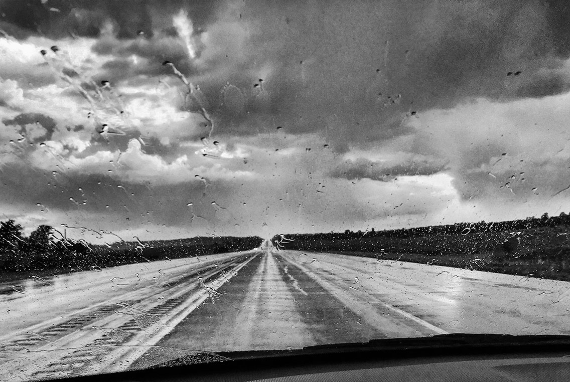 New Mexico monsoon, through the windshield