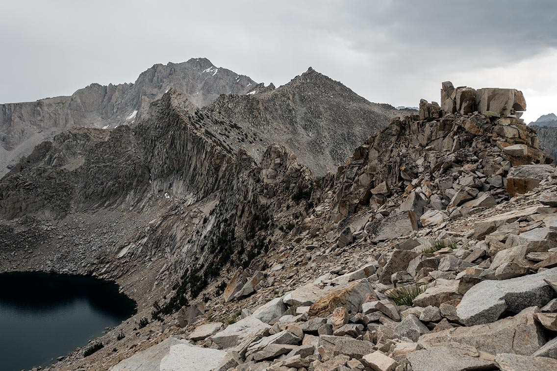 Looking south from Kearsarge Pass, Pothole Lake below.